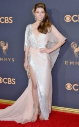 Jessica Biel on the red carpet at the 2017 Emmy Awards dressed in Ralph & Russo Couture