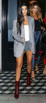 Kourtney Kardashian style…white cotton cami, faded black denim shorts, grey check oversized blazer and maroon-red leather ankle boots.