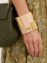 OBJET SINGULIER Plaque-embellished cuff ~ pink lacquer and gold tone statement cuffs ~ contemporary jewellery