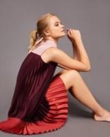 TED BAKER KIMMEA Pleated dress with bow / colourblock dresses