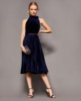 TED BAKER CORNELA Pleated velvet midi dress / dark blue party dresses