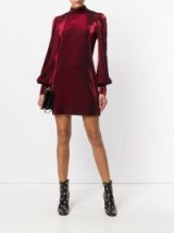 PLEIN SUD metallic fitted dress ~ red long sleeved high neck dresses