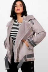 boohoo Plus Sadie Bonded Aviator Jacket #grey #faux #fur #casual #style #jackets #winter