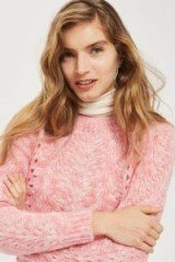Topshop Pointelle Mohair Jumper | pink crew neck jumpers