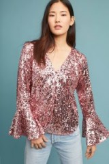 Moulinette Soeurs Pollina Sequin Bell Sleeve Top / pink shimmer fluted cuff tops