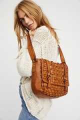 Pompeii Distressed Messenger | cognac-brown messengers | distressed woven leather bags