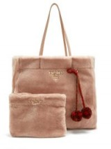 PRADA Pompom-embellished shearling tote | fluffy pink bags