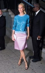 Poppy Delevingne blue sequin crew neck and silky lilac skirt at Marc Jacobs NYFW / stylish looks / celebrities with style