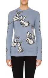PRADA Bunny-Motif Wool-Cashmere Sweater ~ cute blue rabbit sweaters