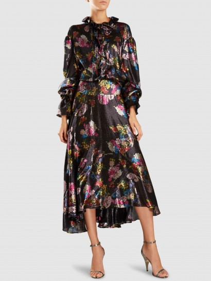 ‎PREEN BY THORNTON BREGAZZI‎ Iris Printed Silk-Blend Lamé Maxi Dress ~ flowing floral ruffle neck dresses