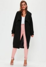 missguided premium black belted waterfall coat ~ shawl collar winter coats