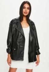 Missguided premium black leather biker jacket – oversized jackets