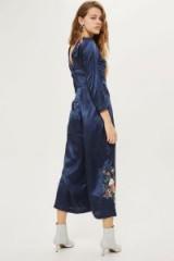 Topshop Premium Embroidered Jumpsuit / blue silky jumpsuits