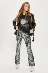 Topshop Premium Sequin Flare Trousers | gunmetal sequined pants