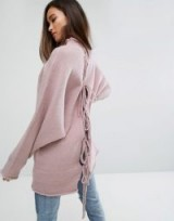PrettyLittleThing Oversized Knitted Bow Back Jumper | mauve slouchy back tie jumpers