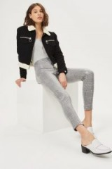 Topshop Prince of Wales Coated Treggings | shiny check print skinny pants