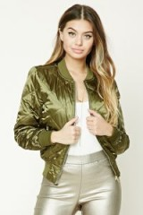 FOREVER 21 Quilted Bomber Jacket | olive-green jackets