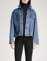 R13 Repurposed Back Zip denim trucker jacket   blue jackets