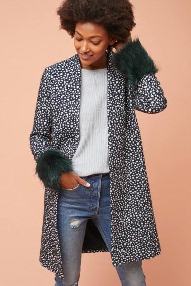 Helene Berman Rania Spotted Faux Fur Cuff Coat - flipped