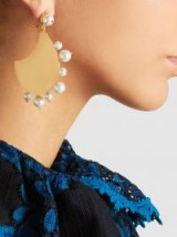‎RAZAN ALAZZOUNI‎ Gold-Plated Earrings With Pearl Trim ~ statement jewellery