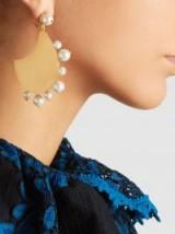 RAZAN ALAZZOUNI Gold-Plated Earrings With Pearl Trim ~ statement jewellery