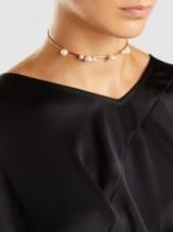 RAZAN ALAZZOUNI Single Strand Gold-Plated Pearl Choker ~ delicate chokers