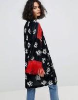 Reclaimed Vintage Inspired Velvet Dragon Kimono With Fringing | black and red fringed oriental style jackets | printed kimonos