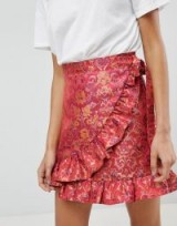 Reclaimed Vintage Inspired Wrap Front Skirt In Brocade | pink ruffled skirts