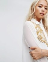 Religion Sheer Western Shirt With Beaded Embellishment / white cowgirl shirts