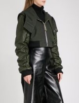 RESURRECTION Cropped faux-leather and wool bomber jacket | khaki crop jackets | contemporary style outerwear