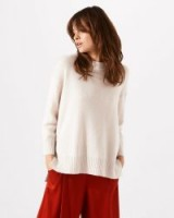 JIGSAW RIB BACK JUMPER ~ stone turtleneck jumpers