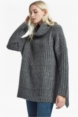 FRENCH CONNECTION RIVA RIB KNIT HIGH NECK JUMPER ~ chunky grey oversized jumpers