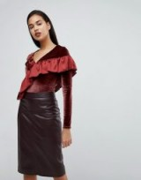 River Island Velvet Ruffle Front Bodysuit | dark red ruffled bodysuits