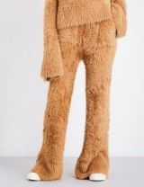 ROCKET X LUNCH Flared high-rise faux-angora trousers / fluffy camel brown teddy pants