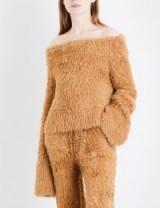 ROCKET X LUNCH Off-the-shoulder oversized faux-angora jumper / fluffy camel brown bardot jumpers