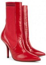 FENDI Rockoko red leather boots ~ ribbed stretch-knit side boot with pointy toe