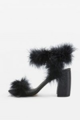 Topshop ROMANCE Faux Fur Sandals / fluffy black block heeled sandal
