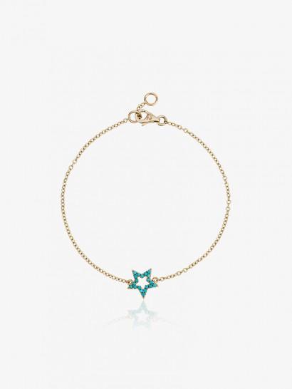 Rosa De La Cruz Turquoise Star Charm Bracelet / delicate blue stone bracelets / stars / jewellery