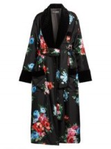 DOLCE & GABBANA Rose-print velvet-trimmed coat ~ luxe coats