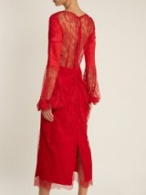 EMILIO DE LA MORENA Round-neck balloon-sleeved silk-blend lace dress ~ semi sheer red dresses