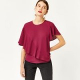 Warehouse RUFFLE T-SHIRT | dark pink ruffled tops