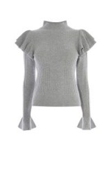 Karen Millen RUFFLE TURTLENECK KNIT JUMPER ~ feminine grey high neck jumpers ~ beautiful winter fashion