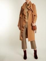 MSGM Ruffled crepe coat ~ camel-brown ruffle coats