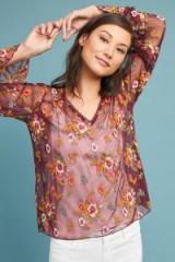 Feather Bone Ruffled Giralda Blouse / sheer rose-pink blouses