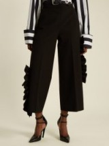 MSGM Ruffled stretch-cady cropped trousers ~ black ruffle pants