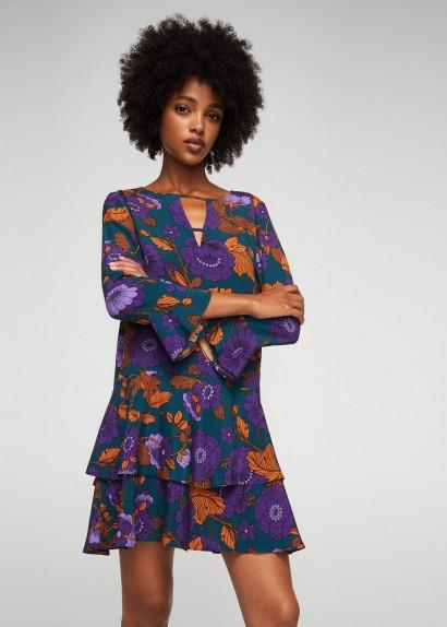 Mango Ruffles slit dress KEY / floral dresses