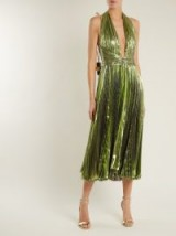 MARIA LUCIA HOHAN Ryna halterneck pleated lamé midi dress ~ metallic lime-green plunge front dresses