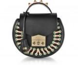 SALAR Claire Pocket Black Leather Shoulder Bag | stitch detail bags