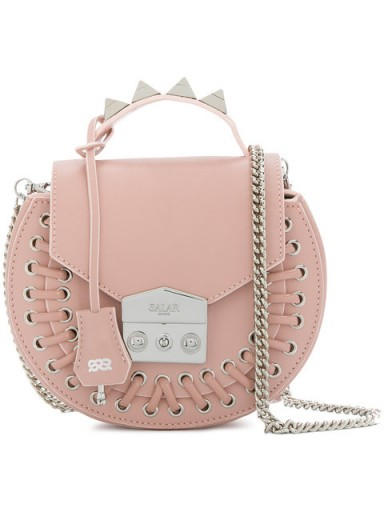 SALAR tie detail studded crossbody bag / round pink leather handbags