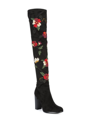 SAM EDELMAN embroidered knee-length boots / floral over the knee boot